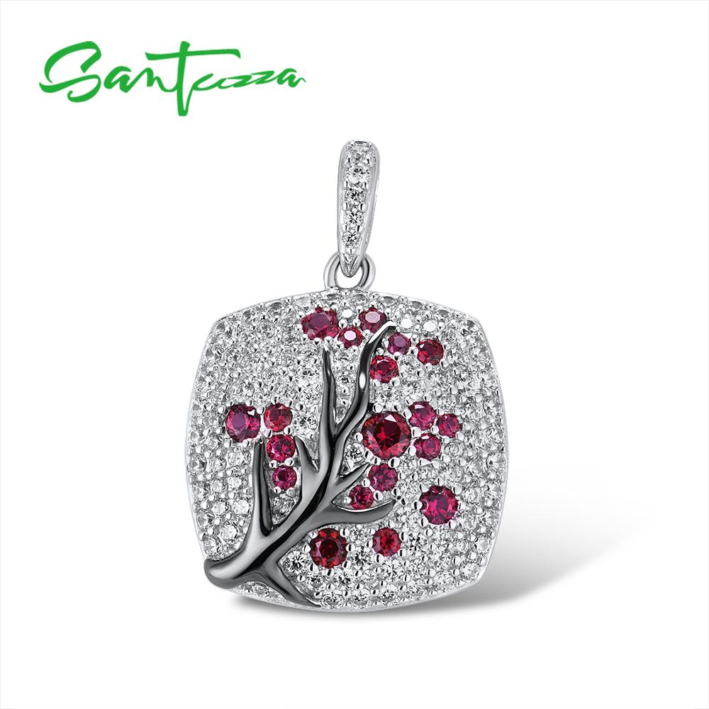 SANTUZZA Silver Pendant For Women 925 Sterling Silver Sparkling Pink Cherry Tree CZ Delicate Fashion подвеска кулон Fine Jewelry