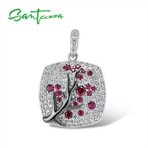 Image 1 - SANTUZZA Silver Pendant For Women 925 Sterling Silver Sparkling Pink Cherry Tree CZ Delicate Fashion подвеска кулон Fine Jewelry