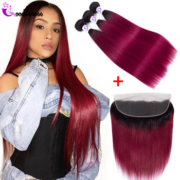 Goodliness Ombre Bundles With Frontal Closure 1b/Burgundy 2 Tone Remy Ombre Straight Brazilian Hair Weave Bundles With Frontal фото