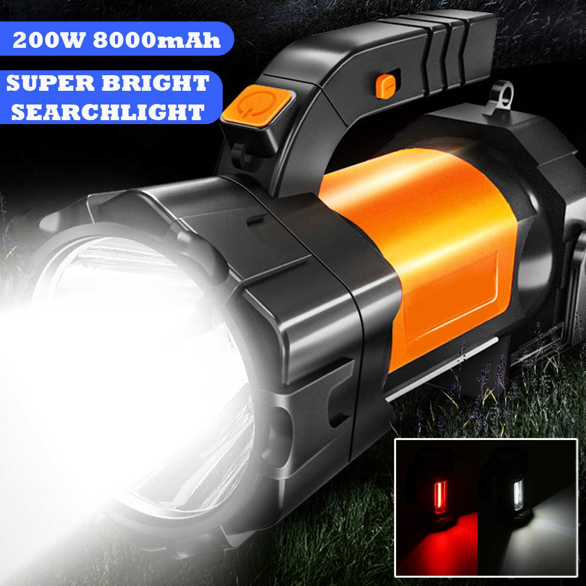 200W 2000LM Handheld Spotlight Portable USB Built-in Rechargeable LED Searchlight Lantern Flashlight Waterproof Spot Lamp