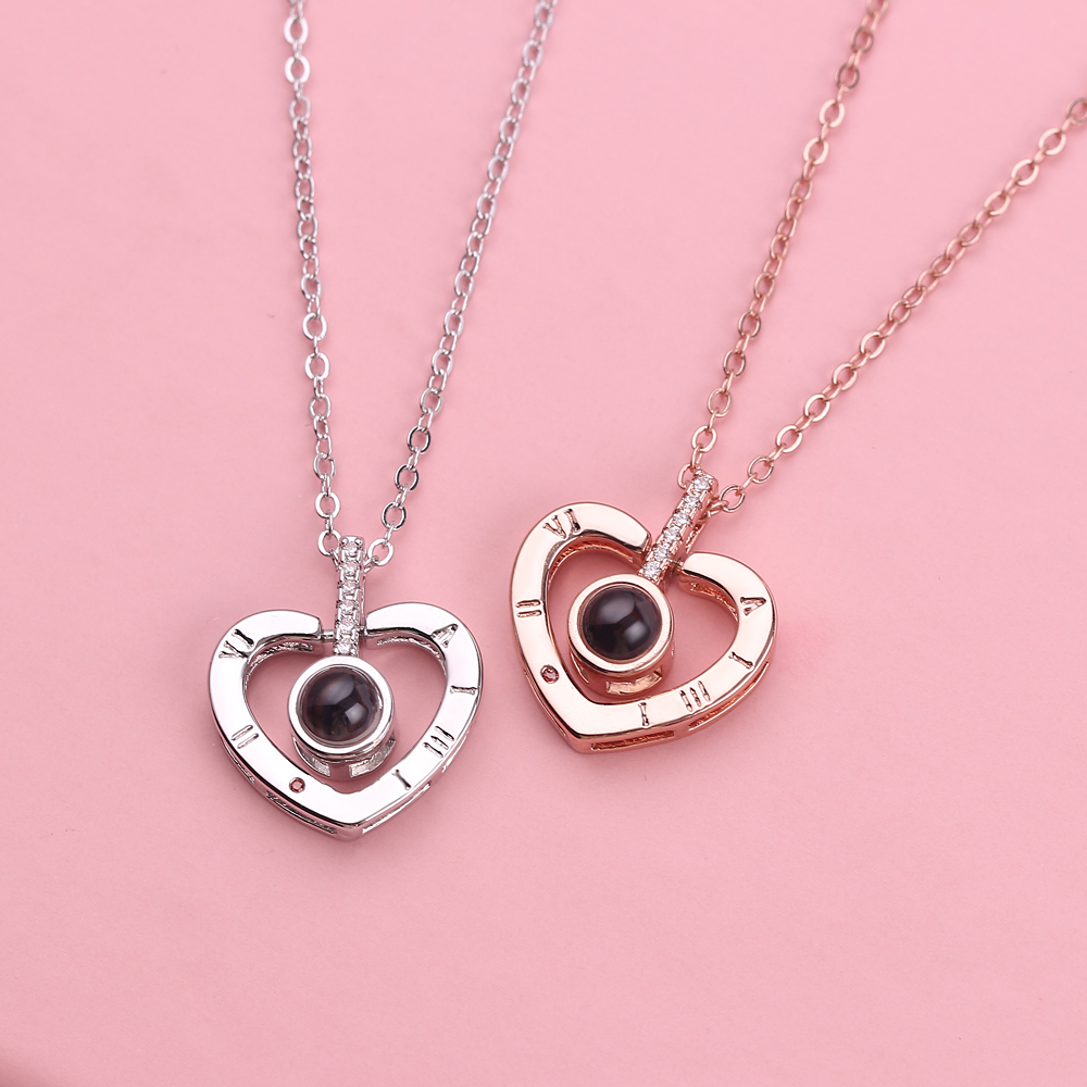 Choker Chain 100 Languages I Love You Pendant Necklace Memory Lover Heart