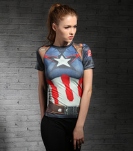 2019 New Sport Shirt Captain America 3D Printed Fitness Running cycling short Sleeve Top Elastic Sportswear Gym Training