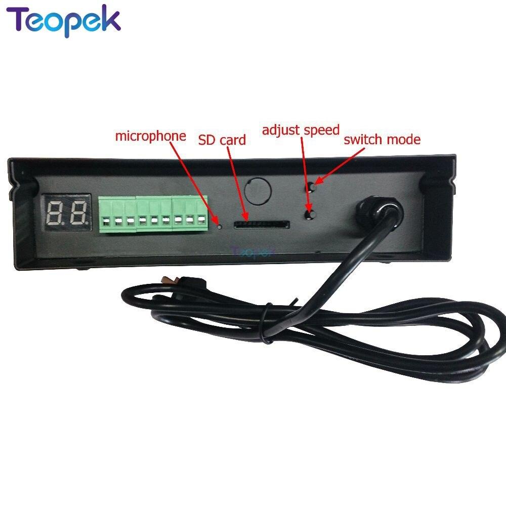 Controlador de música LED H803SC 2560 píxeles tarjeta SD Controlador LED RGB DMX512 WS2812 entrada de micrófono y Cable de audio programable - 2