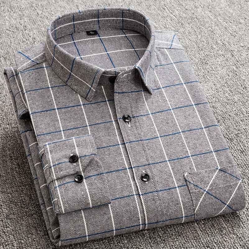 100% Cotton flanel shirt men Plaid Shirt Male Long Sleeved Shirts shirts for men shirt plus size 5XL 7XL 6XL 8XL street wear