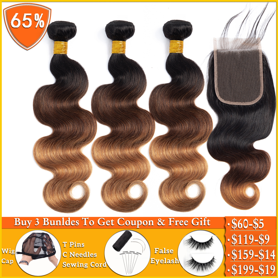 T1b/4/30 Honey Blonde Ombre Bundles With Closure Brazilian Human Hair Weave Bundles Body Wave Bundles With Closure Non-remy