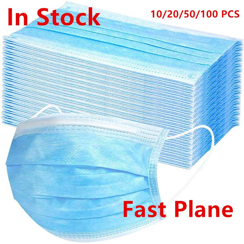 10/20/50/100PCS Mask Factory Sales Face Mouth Mask Disposable Protect 3 Layers Filter Protection Non Woven Masks Fast Shipping