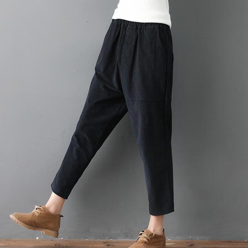 Photo Shoot 2018 Autumn Clothing New Style Literature And Art Loose-Fit Corduroy Capri Pants Harem Pants Women's Pure Slimming V