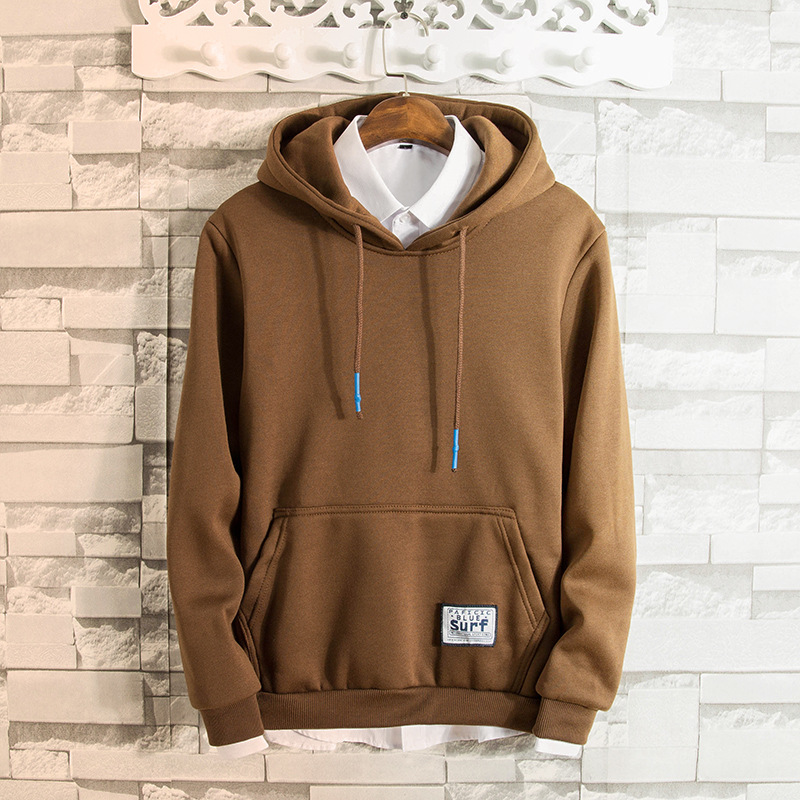 Cross-Border For Men's Spring And Autumn Hoodie Sports Hooded Stitching Color Hooded Hoodie Men's O Neck Crew Neck Simple Loose