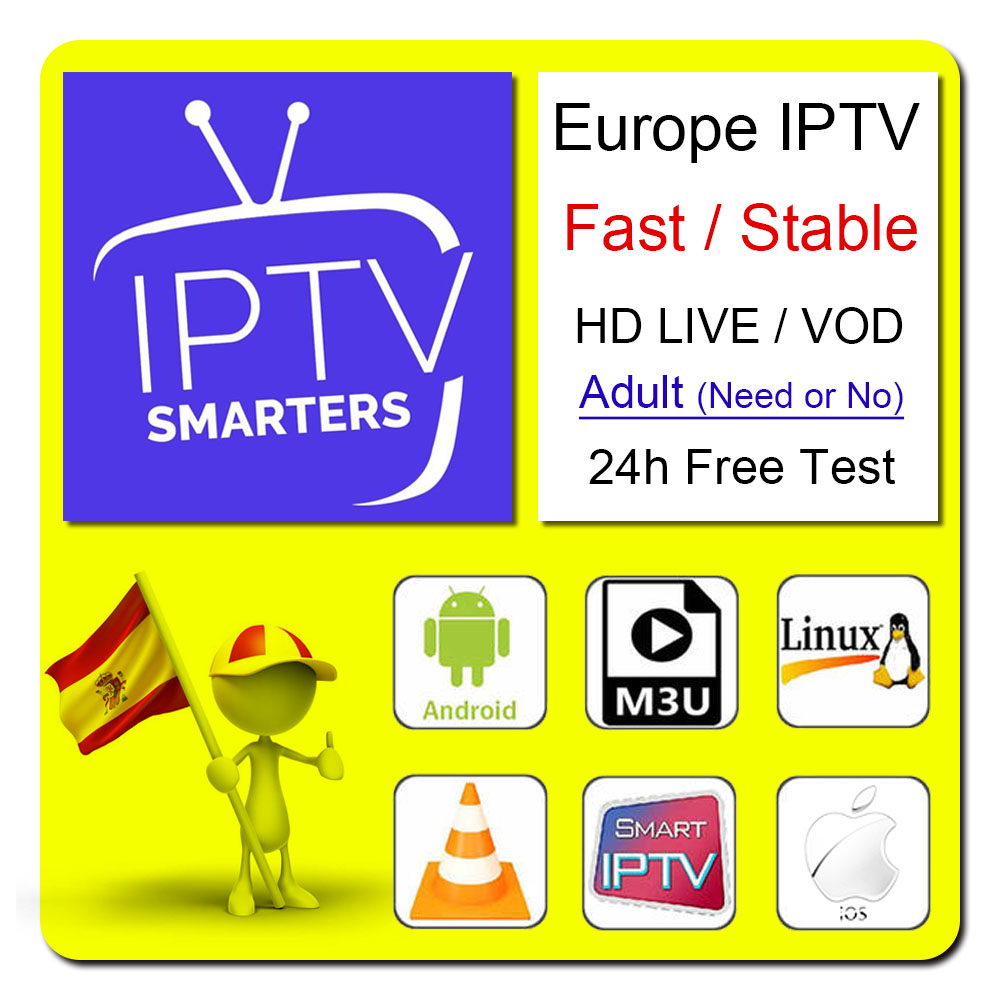 Europe Arab Spain IPTV M3u Subscribe 7000 Live Broadcast 5300 Vod Germany Italy Canada Turkey Smart Android TV Box IPTV