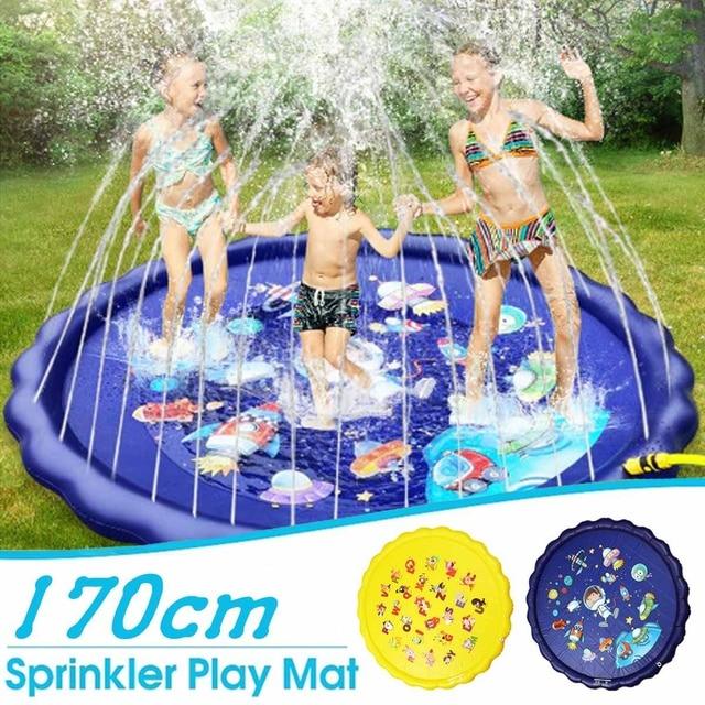 170cm 0.25mm Thickened PVC Spray Water Cushion Summer Children Kids Play Sprinkler Mat Carpet Spray Outdoor Swiming Pool Toy Fun