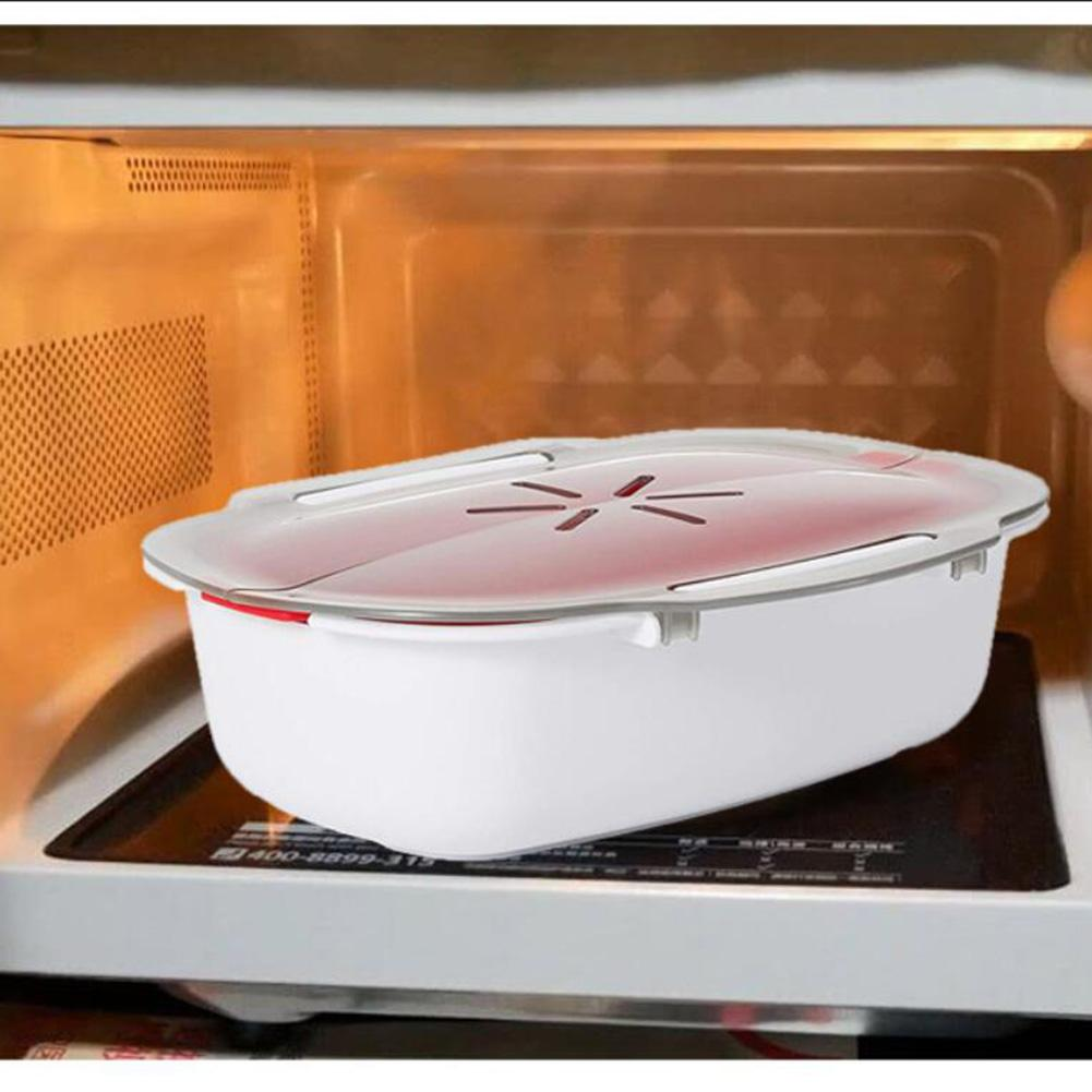 Microwave Food Steamer High Quality Steamer Basket Safe Non-toxic Fish Food Microwave Oven Steamer Steaming Dish Kitchen Cooking