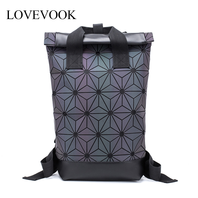Women Backpack Holographic-Refretion Hand-Bag Teenagers Large-Capacity Girls LOVEVOOK