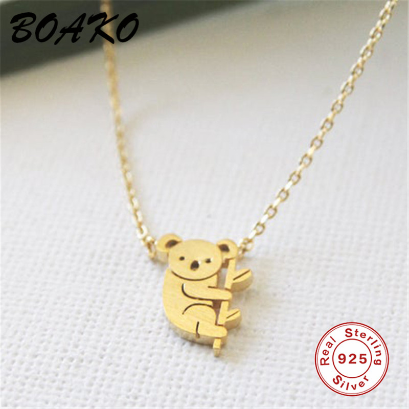 BOAKO Cute Australia Baby <font><b>Koala</b></font> Necklace Pendant <font><b>Koala</b></font> <font><b>Bear</b></font> Woodland Necklace Choker Animal <font><b>Jewelry</b></font> 925 Sterling Silver Necklace image
