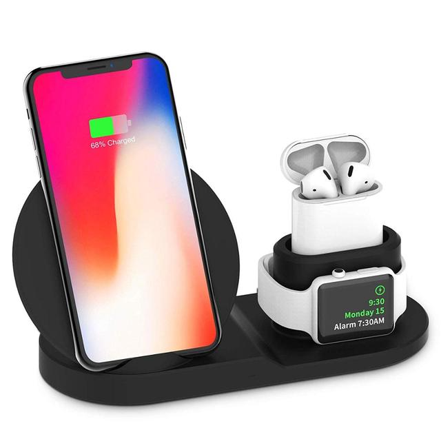 3in1 チーワイヤレス急速充電器ドック用スタンド airpods 時計 4 3 iphone 8 x xs 最大 xr 10 35w クイック充電 S9 S8 S7