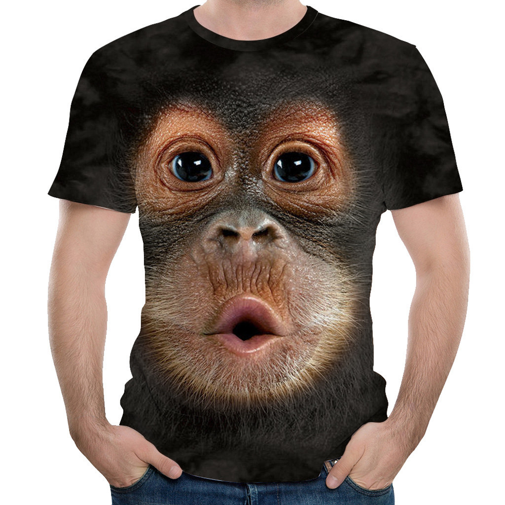 Men Spring Summer Men's T-Shirts 3D Printed Animal Monkey Tshirt Short Sleeve Funny Design Casual Tops Tees Male Drop #YL5