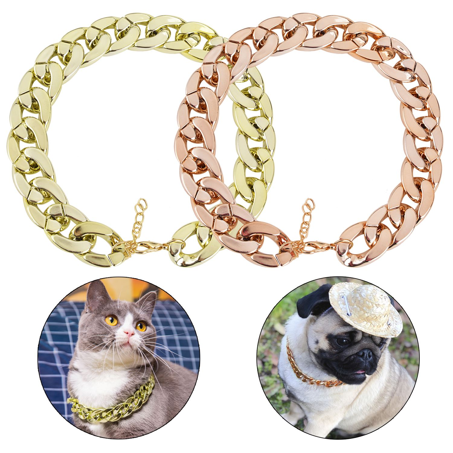 2019 New Fashion font b Pet b font Dog Necklace Collars Thick Gold Chain Plated Plastic