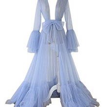 Ladies Tulle Prom Dresses Long Lingerie Gown Nightgown Maternity Gown With Luxury Full Puffy Sleeves