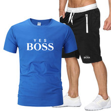 New men's summer Gym sports quick-drying T-shirt + sports jogging breathable shorts fashion casual suit