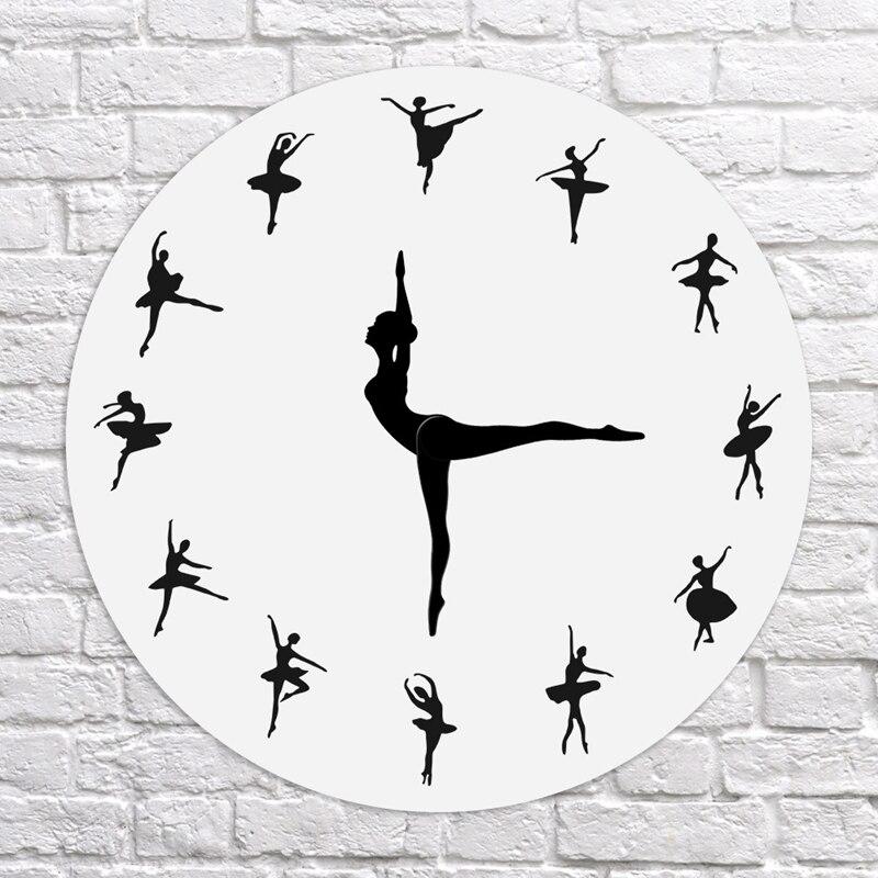 Fashion-Charming Ballerina Wall Clock Baby Girl Nursery Decor Ballet Dancer Modern Wall Clock Ballet Dancing Girl Needle Hand Wa
