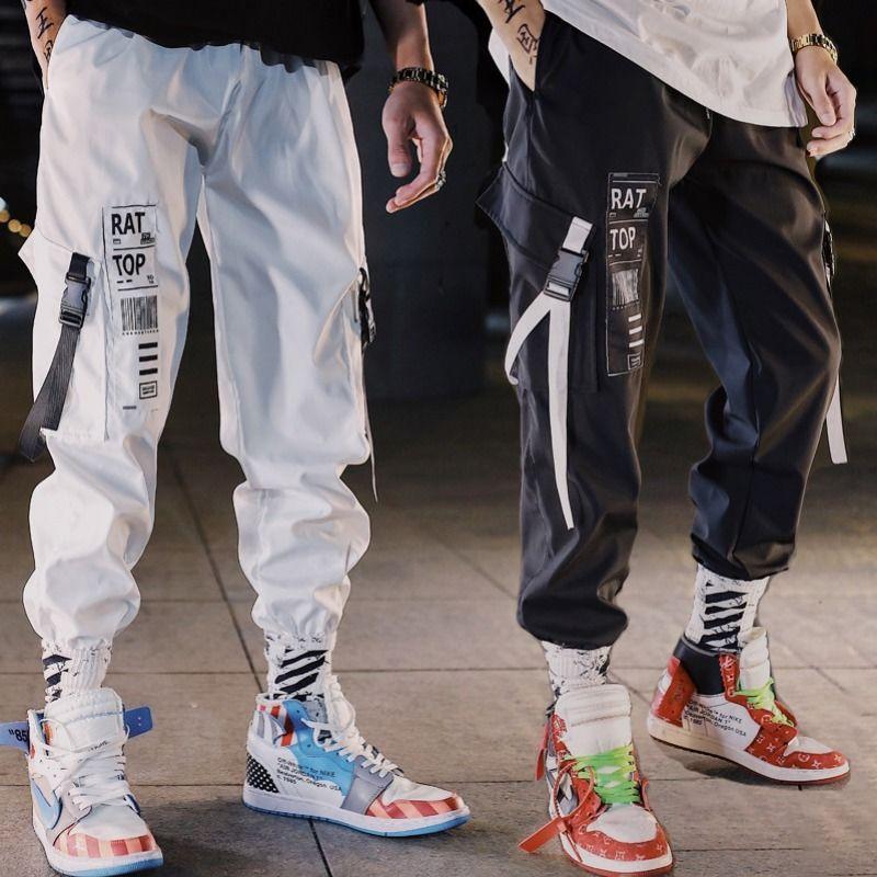 Hip Hop Streetwear Men Harem Cargo Pants Streetwear Men 2020 Fashion Mens Elastic Waist Pant Ribbons Cotton Black