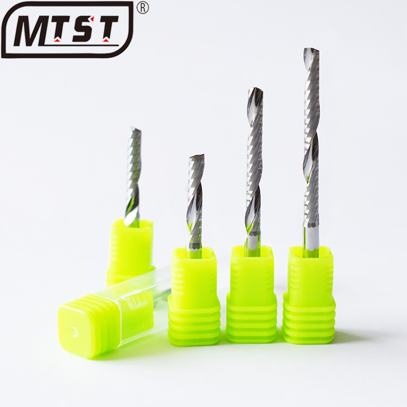 MTST 1piece 4 5 6mm One Flute Spiral Router Bits for Wood fresa CNC End Mill Tungsten Carbide Tool Acrylic Milling Cutter