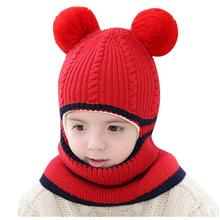 купить Hat Baby Hot Sale New Toddler Cute Boy Girl Pompon Kids Hat Winter Warm Knit Crochet Beanie Cap Scarf Set czapki dla dzieci онлайн