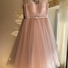 Homecoming-Dresses Cocktail Short A-Line Jewel Neck-Cap Sleeve Tulle Lace Lace