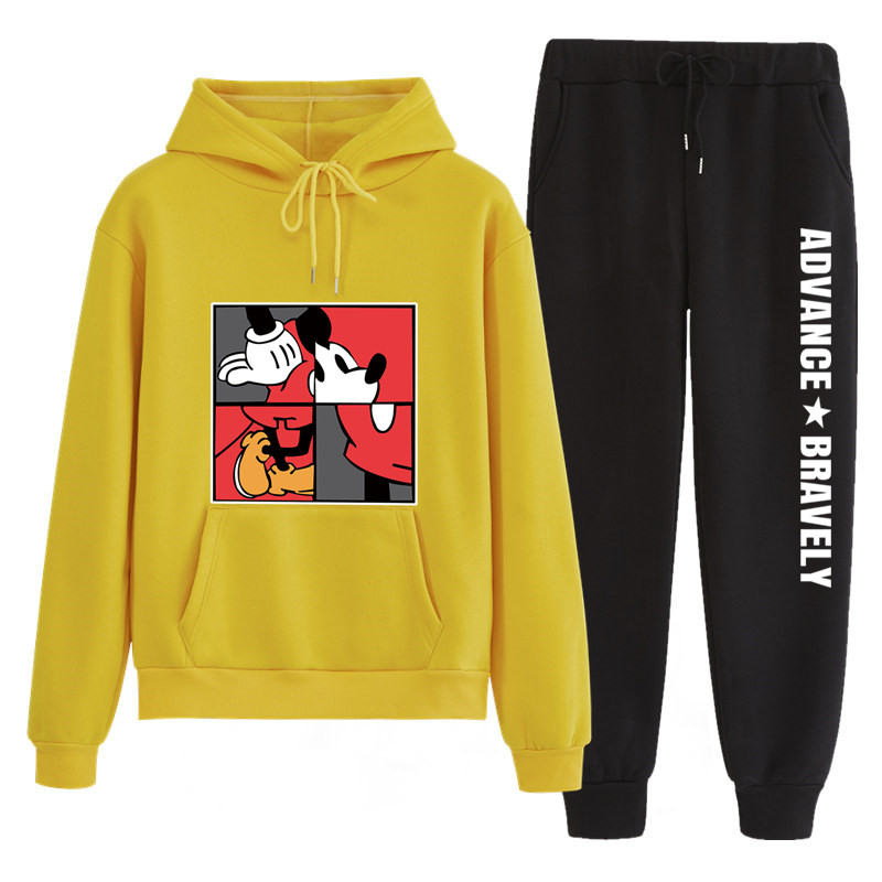 N143 Autumn Matching Couple Casual Tracksuits Women Men Mickey Print Hooded Hoodies And Pants Suits Lover Christmas Gift
