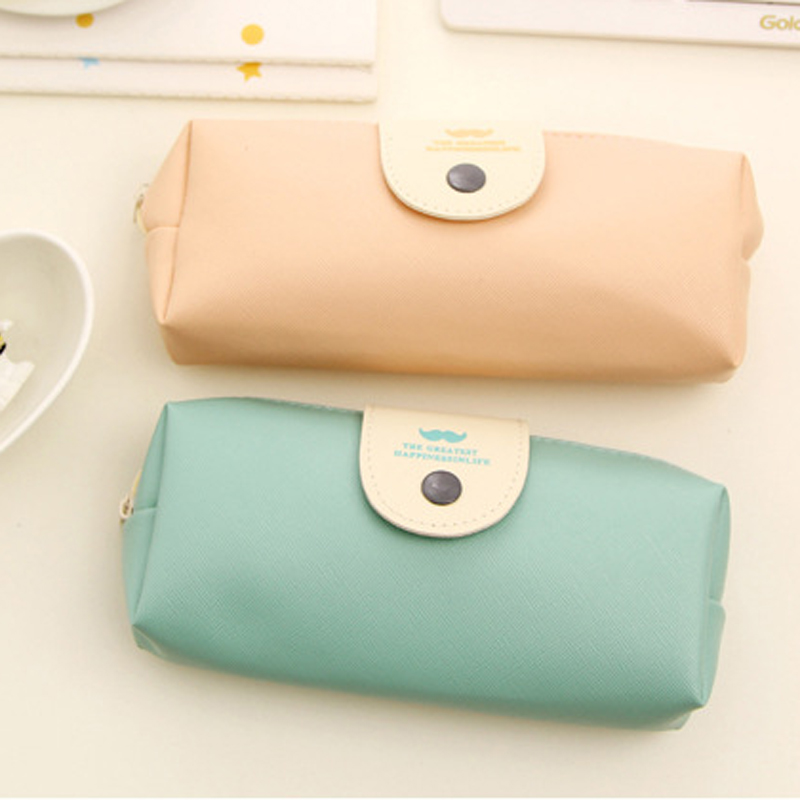 Candy Color Pencil Case PU Leather School Pencil Bag For Girl Stationery Canvas Pencil Bag School Supplies Students Gifts