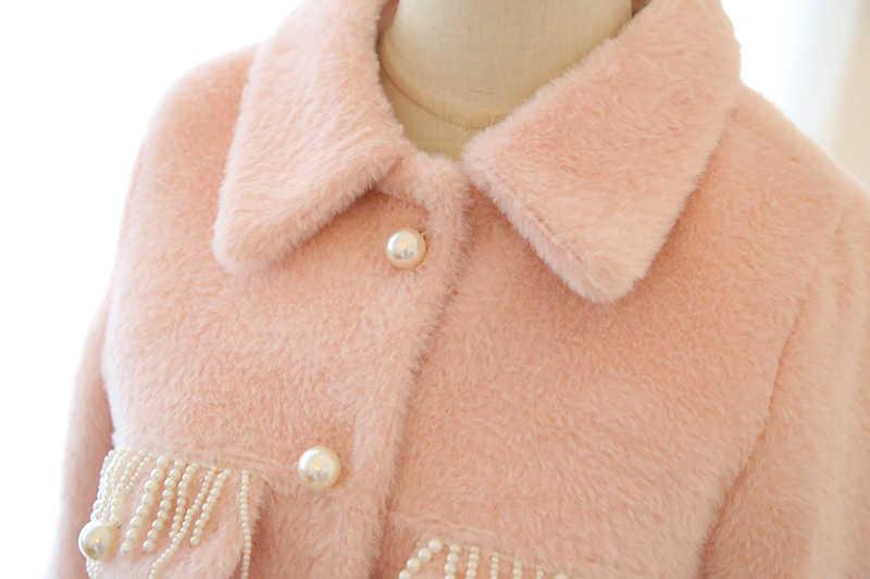 プリンセスパールビーズウールコートとスカートスーツ冬の新ラペル模造ミンクカシミアコートミニスカート 2 個セット