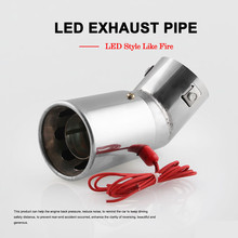 Universal Car Tail Throat Spitfire Tubes Muffler Modified Red Flame Pipe Tube Exhaust Stainless Steel Auto Accessories