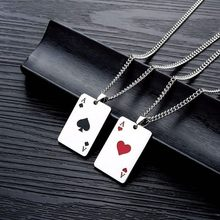 New creative playing cards hearts and spades A trendy men's necklace hip hop titanium steel clavicle necklace sweater pendant