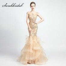 Najnowsza koronka aplikacje syrenka suknie wieczorowe Burgundy frezowanie warstwowa spódnica w stylu Vintage kobiety formalne suknie na bal Vestidos L5135