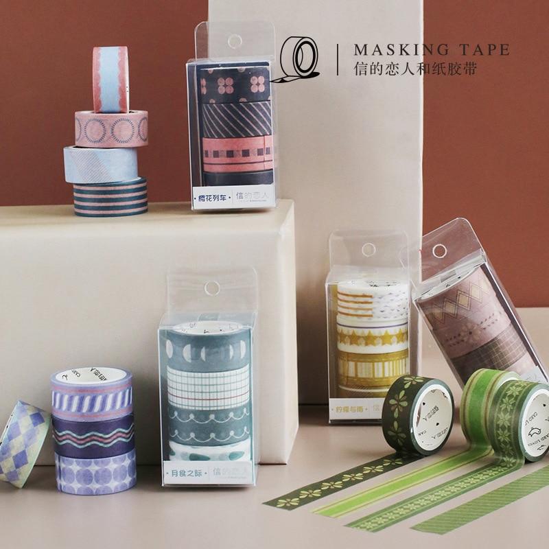 Mohamm Kawaii Basic Section Series Decorative Adhesive Washi Tape DIY Scrapbooking Masking Tape School Office Supply
