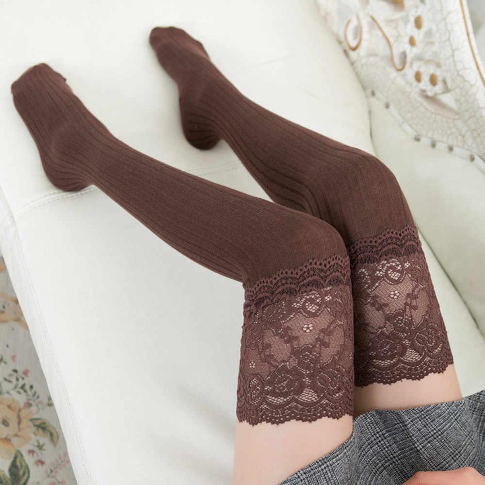 ใหม่แฟชั่น 7 สีลายต้นขาสูงถุงน่องผู้หญิงเซ็กซี่ถุงน่องฤดูใบไม้ร่วงฤดูใบไม้ผลิถุงเท้าเข่าเข่า 2019