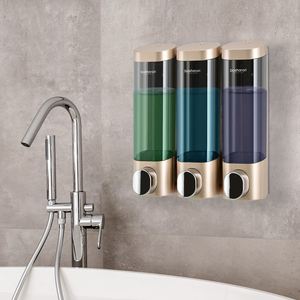 Image 2 - トリプルソープディスペンサーウォールマウントシャンプーディスペンサー洗剤シャワージェルボトルゴールド 300 ミリリットルプラスチック浴室アクセサリー家庭用
