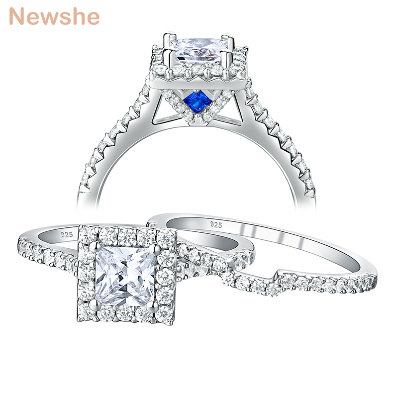Newshe Solid 925 Sterling Silver Wedding Ring Set For Women Princess Cut Promise Engagement Rings AAA Zirconia Jewelry BR0828