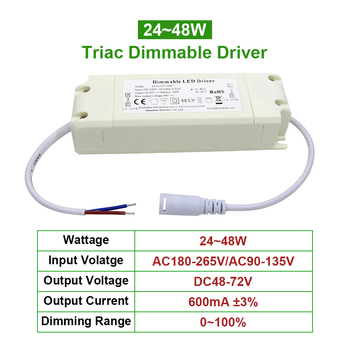 цена на 24~48W Triac led driver dimming Plastic Shell AC110V 220V DC48-72V Lighting Transformer 600mA Power Supply Adapter for Led Lamps