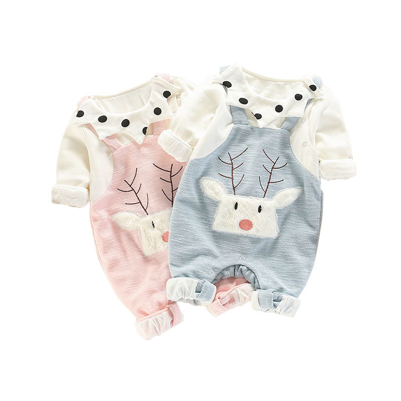 Footies & Rompers Clothing Baby Boy Girl Round Neck Long-Sleeve Pure Color Climbing Clothes Chubby Baby Shark Jumpsuits Sleepwear