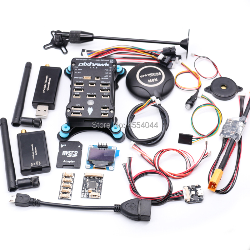 Pixhawk 2.4.8 PX4 PIX Flight Controller  M8N GPS 433Mhz/915Mhz 100MW/500MW Radio Telemetry+ OSD OLED+RGB USB+xt60 Power Module