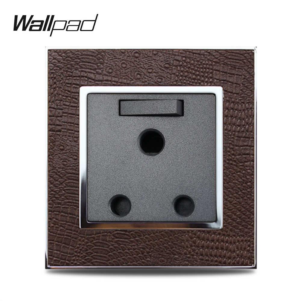 Venta caliente conmutado 3 Pin 15A Socket Wallpad Panel de cuero de lujo MARCO DE ORO plateado pared toma eléctrica AC 110 ~ 250V