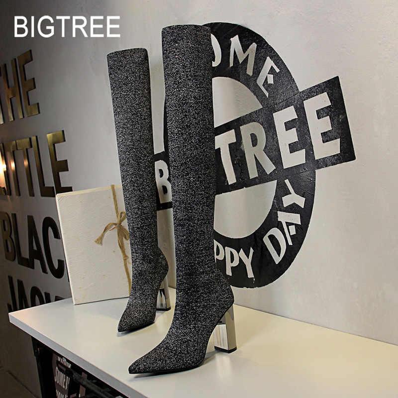 2020 yeni kadın yüksek çizmeler over-the-diz çizmeler kadın ince uyluk yüksek çizmeler yüksek topuklu diz yüksek çizmeler kadın ayakkabıları Bigtree ayakkabı
