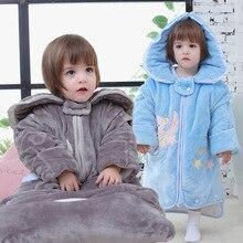 Осенне-зимние утепленные спальные мешки для новорожденных, съемные рукава, чистый хлопок, противоскользящие спальные мешки,, для малышей и малышей