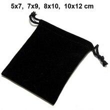 100 יח\חבילה 5x7, 7x9, 8x10, 10x12cm שרוך קטיפה שקיות & שקיות תכשיטי שקיות מתנת שקית אריזה אישית מותאם אישית הדפסת לוגו