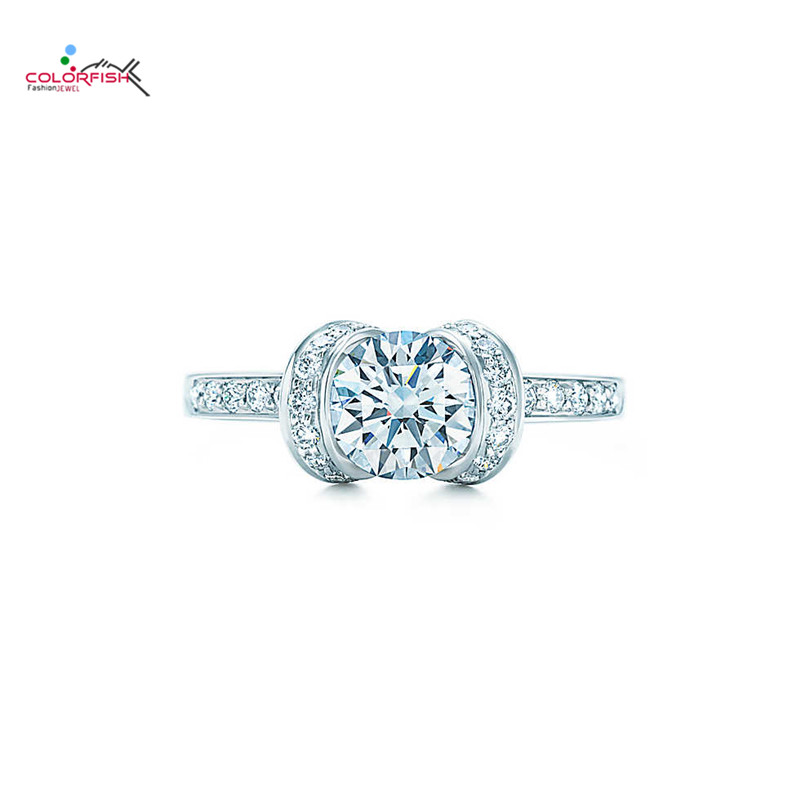 COLORFISH classique taille ronde 1 Carat Sona 925 bague de fiançailles en argent Sterling pour les femmes bijoux d'anniversaire