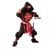 Ninja costume Red Dragon, shirt, trousers, protection, belt, mask, nunchucks, size 30, height 116 cm