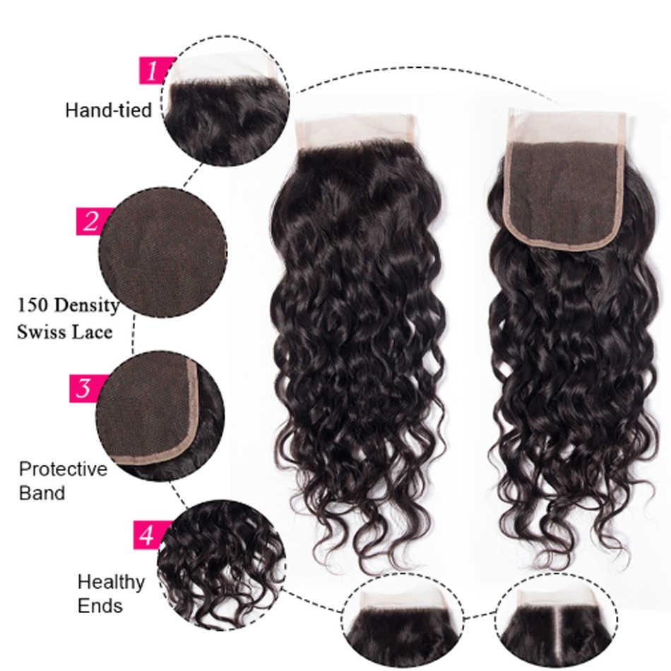 Малазийские волнистые человеческие волосы пучки с закрытием 3 пучка с закрытием Shireen remy волосы для наращивания средняя Бесплатная закрытие