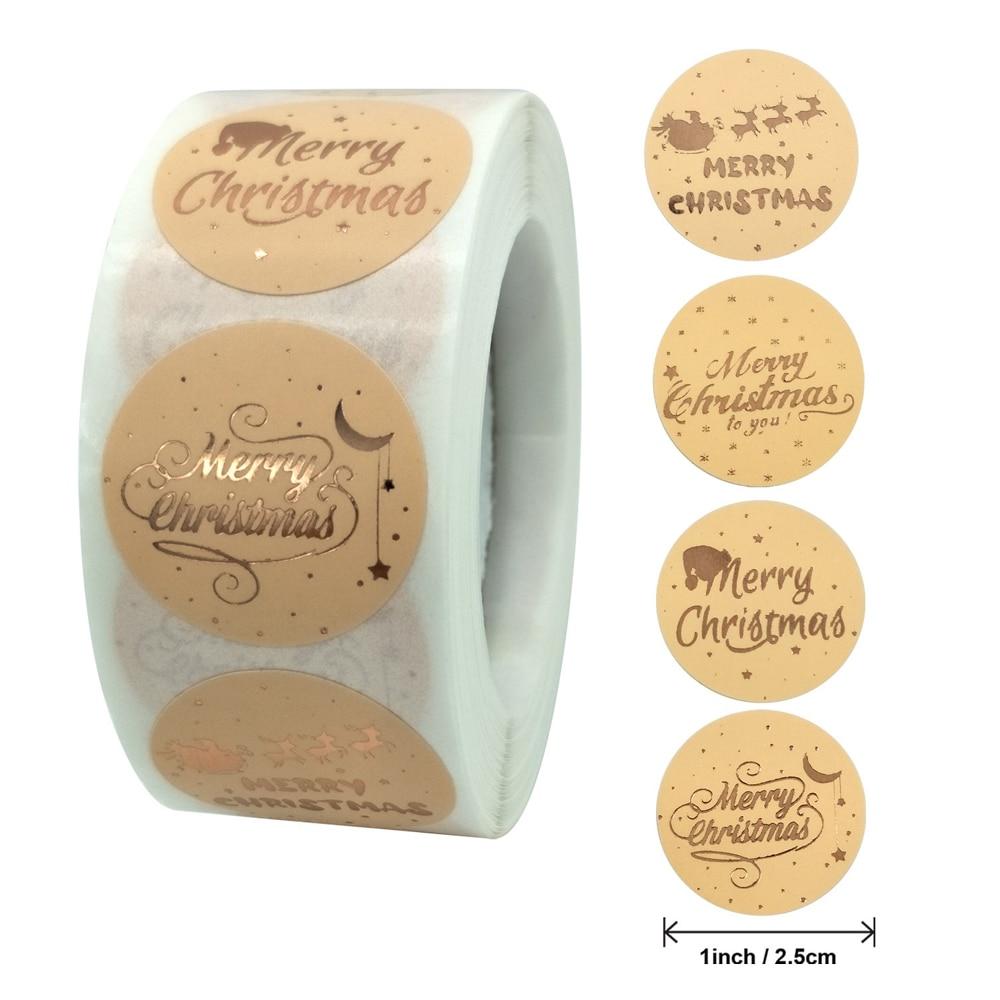 Розовое золото Счастливого Рождества наклейки скрапбук 1 дюйм 100-500 шт запечатывания этикетки наклейки для вечерние DIY упаковки канцелярски...