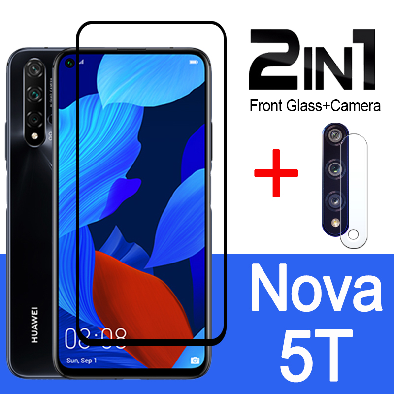 For Huawei Nova 5T Glass Protective On 5 T T5 Screen Protector With Camera Lens Film Armored Sheet Len Huwai Tempered Glas