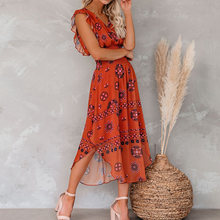 Женское платье миди с винтажным узором длинное красное рюшами